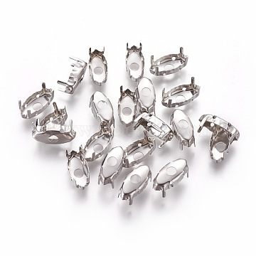 Stainless Steel Rhinestone Claw Settings, Horse Eye, Stainless Steel Color, 14x6.5x5.5mm; Tray: 13.3x5.7mm(STAS-L229-02P)