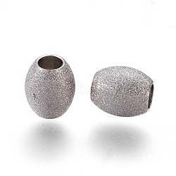 304 Stainless Steel Textured Beads, Oval, Stainless Steel Color, 7x6mm, Hole: 3mm(STAS-E455-06P-6x7)