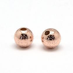 Perles texturées remplies d'or rose, 1/20 14k rose or rempli, rond, 6mm, Trou: 1mm(KK-A130-10RG-6mm)