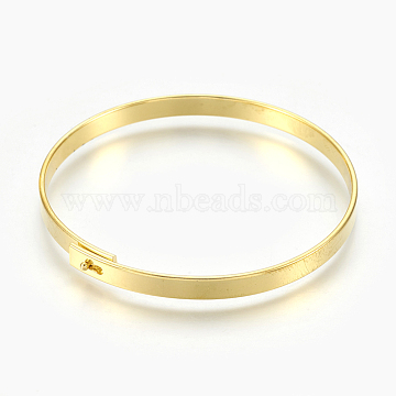 Fashion Brass Bangles, Golden, 2-3/8 inches(6cm), 5mm(X-BJEW-L633-01G)