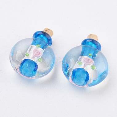 Pendentifs de bouteille de parfum au Lampwork argenté manuels(FOIL-P001-C)-2