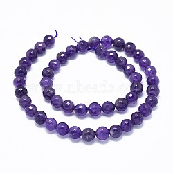 Natural Amethyst Beads Strands, Faceted, Round, 8mm, Hole: 0.8mm; about 49~50pcs/strand, 15.7''(40cm)