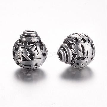 Tibetan Style Alloy 3-Hole Guru Beads, T-Drilled Beads, Round, Antique Silver, 9x8mm, Hole: 1.5mm(PALLOY-YC45781-AS)