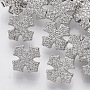 Brass Shank Buttons, with Micro Pave Cubic Zirconia, Cross, Clear, Platinum, 11x11x6.5mm, Hole: 1.4mm
