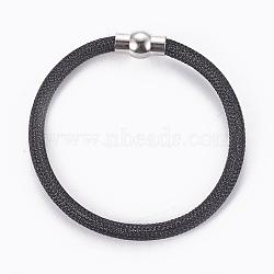 """Bracelets à mailles en laiton, avec fermoir magnétique en laiton, noir, 8""""~8-1/8"""" (20.4~20.7cm); 5mm(BJEW-F372-01G)"""