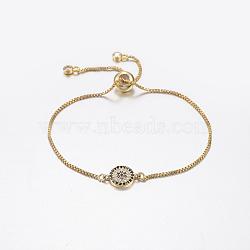 """Bracelets bolo extensibles en laiton avec zircon cubique de micro pavé, Bracelets coulissants, avec des chaînes de boîte en laiton, plat et circulaire avec fleur, or, 10-1/4"""" (260 mm)(BJEW-G586-02G)"""