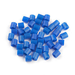 Recharges de perles à repasser en PE, Tube, bleu, 5x5mm, trou: 3 mm; environ 890 pcs / 50 g(DIY-XCP0003-01)