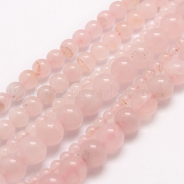 Natural Rose Quartz Beads Strands, Round, 6mm, Hole: 1mm; about 68pcs/strand, 15.75 inches(40cm)(X-G-E380-056-6mm)