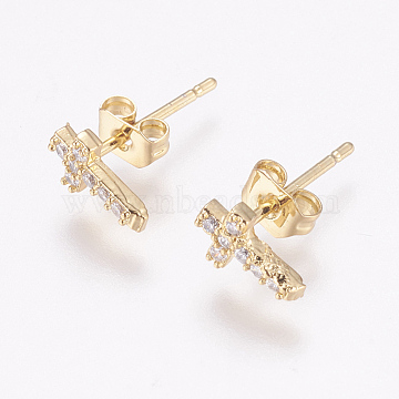 Brass Micro Pave Cubic Zirconia Stud Earrings, with Ear Nuts, Cross, Golden, 8x5x2mm, Pin: 1mm(X-EJEW-F125-05G)