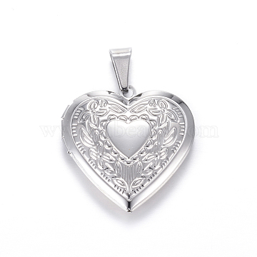 304 Stainless Steel Locket Pendants, Heart, Stainless Steel Color, 29x29x7mm, Hole: 9x5mm, Inner: 21x17mm(X-STAS-N0016-03P)