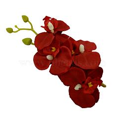 pinces à cheveux en alligator fleur de tissu, Avec des crochets d'alligator en fer, rouge, 180x90 mm(PHAR-Q117-05A)
