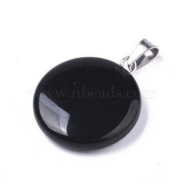 Synthetic Black Stone Pendants, with Platinum Tone Brass Bails, Flat Round, 22~25x19~21x5~7mm, Hole: 3x6mm(X-G-R470-001)