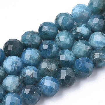 Natural Apatite Beads Strands, Faceted, Round, 4~4.5x4mm, Hole: 1mm; about 49pcs/strand, 7.48 inches(X-G-S345-4mm-008)
