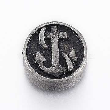304 Stainless Steel Beads, Flat Round with Anchor and Helm, Antique Silver, 10.5x5mm, Hole: 2mm(X-STAS-A033-002AS)