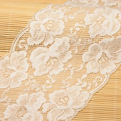 "Ruban en nylon avec garniture en dentelle pour la fabrication de bijoux, blanc, 5-1/2"" (140 mm); environ 15yards / rouleau (13.72m / rouleau)(ORIB-F001-37)"