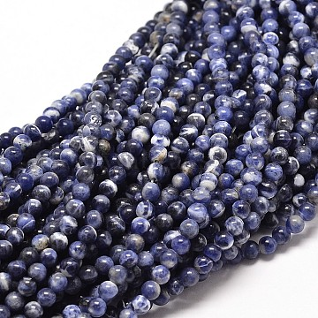 Natural Sodalite Round Bead Strands, 10mm, Hole: 1mm; about 40pcs/strand, 16inches(G-P072-27-10mm)