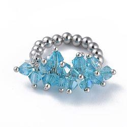 304 bagues élastiques en acier inoxydable, avec perle de verre galvanisée et goupilles en laiton, bleu ciel, taille 8, 18mm(RJEW-JR00261-01)