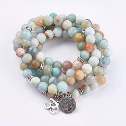 """Bracelets enroulés en amazonite naturelle, avec accessoire en alliage, ohm et arbre de vie, 36.22""""~39.37"""" (92~100 cm)(BJEW-E329-06D)"""