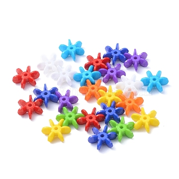Opaque Solid Color Acrylic Paddle Beads, Star Flake, Mixed Color, 19x17x7mm, Hole: 2.5mm; about 860pcs/500g(SACR-S623-M)