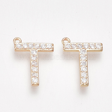 Golden Clear Alphabet Alloy+Cubic Zirconia Charms