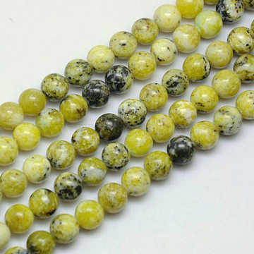 Gemstone Beads Strands, Natural Yellow Turquoise(Jasper), Round, about 8mm in diameter, hole: about 1mm, 15~16 inches(X-GSR007)
