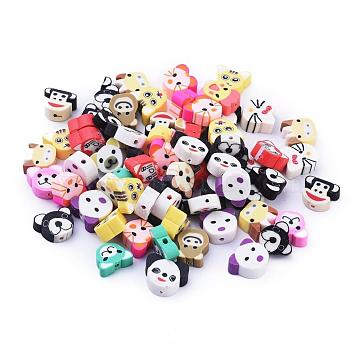 Handmade Polymer Clay Beads, Animal, Mixed Color, 9.5~12x8~12x4~6mm, Hole: 1.6~2mm(X-CLAY-S093-20)