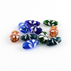 Handmade Lampwork Beads, Oval, Mixed Color, 28x16x9.5mm, Hole: 2mm(X-LAMP-R107-M01)