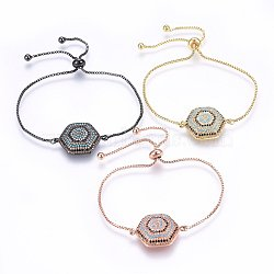 """Bracelets réglables en laiton à micro-pavé de zircons cubiques, Bracelets coulissants, hexagone, colorées, couleur mixte, 10-1/4"""" (26cm); 1.2mm(BJEW-H583-17)"""