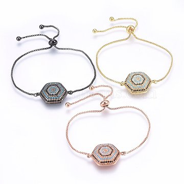 Adjustable Brass Micro Pave Cubic Zirconia Bolo Bracelets, Slider Bracelets, Hexagon, Colorful, Mixed Color, 10-1/4inches(26cm); 1.2mm(BJEW-H583-17)