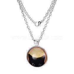 """Colliers avec pendentif plat rond avec motif de chat en verre, avec des chaînes d'alliage, argenterie, 18""""(X-NJEW-N0051-014B-02)"""