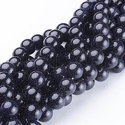 """Chapelets de perles en pierre d'or bleue synthétique, rond, 10mm, Trou: 1mm, Environ 38 pcs/chapelet, 14.5""""(GSR10mmC053)"""