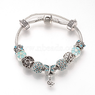 European Bracelets, with Tibetan Style Alloy Rhinestone Beads, Resin Beads, Brass Chains and Safety Chains, Antique Silver, Butterfly, Aquamarine, 7-5/8 inches(195mm)(BJEW-S124-16B)
