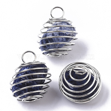 Iron Wrap-around Spiral Bead Cage Pendants, with Natural Sodalite Beads inside, Round, Platinum, 21x24~26mm, Hole: 5mm(IFIN-R239-06P)