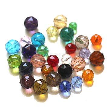 Imitation Austrian Crystal Beads, Grade AAA, Faceted, Round, Mixed Color, 8mm, Hole: 0.9~1mm(SWAR-F066-8mm-M)