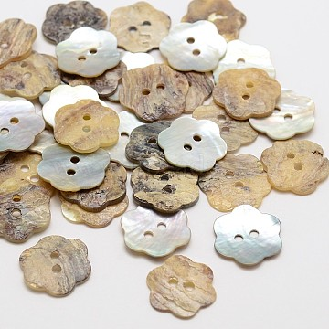 Flower Mother of Pearl Buttons, Akoya Shell Button, 2-Hole, Camel, 14x1mm, Hole: 1mm; about 720pcs/bag(SHEL-N033-23)