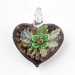 Pendentifs vernissées manuelles, coeur avec fleur intérieure, verte, 39x32.5x16mm, Trou: 7mm(LAMP-F013-01)