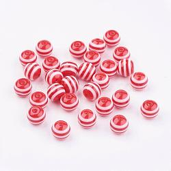 Round Striped Resin Beads, Red, 8x7mm, Hole: 1.8~2mm(X-RESI-R158-8mm-03)