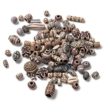 Mixed Antique Style Acrylic Beads, Mixed Color, 9~25x7~31x6~15mm, Hole: 1~5mm(MACR-R546-01)