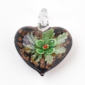 Handmade Lampwork Pendants, Heart with Inner Flower, Green, 39x32.5x16mm, Hole: 7mm(LAMP-F013-01)