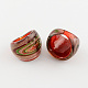 Handmade Gold Sand and Silver Foil Lampwork Wide Band Rings(RJEW-Q150-M15-B)-2