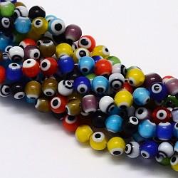 Faits à la main mauvais perles rondes lampwork des yeux, couleur mixte, 4mm, Trou: 1mm(X-LAMP-L055-4mm-12)