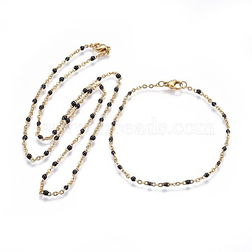 304 Stainless Steel Jewelry Sets, Cable Chain Necklaces and Bracelets, with Enamel, Black, 19.52 inches~19.76  inches(49.6~50.2cm); 7-7/8  inches~8-1/8  inches(20~20.6cm)(SJEW-P160-A04-G)