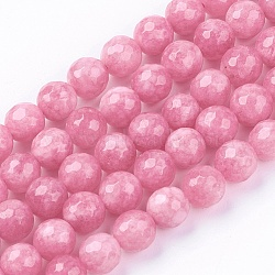 естественно нефритовый шарик нити, окрашенный, граненый, вокруг, pearlpink, 8 мм; отверстие: 1 мм; 48 шт / прядь, 14.9 дюймов