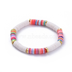 Handmade Polymer Clay Heishi Beads Stretch Bracelets, with Alloy Spacer Beads, Colorful, 2-1/8 inches(5.4cm)(X-BJEW-JB05091-04)