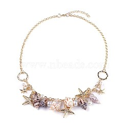Natural Conch Shell Bib Statement Necklaces, with Acrylic Imitation Pearl, CCB  Plastic Beads and Iron Rolo Chains, Starfish, Light Gold, 21.2inches(54cm)(NJEW-WH0004-02LG)