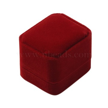 Velvet Ring Boxes, Jewelry Gift Boxes, with Plastic, Rectangle, DarkRed, 60x50x47mm(CBOX-G008-3B)
