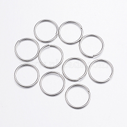 304 Stainless Steel Close but Unsoldered Jump Rings, Stainless Steel Color, 18 Gauge, 12x1mm; Inner diameter: 10mm(X-STAS-P151-05)