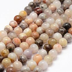 Natural Bamboo Leaf Agate Beads Strands, Round, 8mm, Hole: 1mm; about 47pcs/strand, 15.3inches