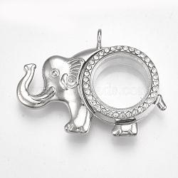 Pendentifs médaillon en alliage, avec le verre et strass, magnétique, éléphant, cristal, platine, 37x51x12.5mm, trou: 3.5 mm; diamètre intérieur: 18 mm(X-PALLOY-Q426-01P)