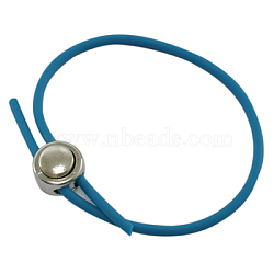 """Bracelet en caoutchouc faisant, fermoirs en plastique, platine, bleu, environ 2-3/8"""" (6cm) de diamètre intérieur, Cable métallique: 3 mm de diamètre(X-BFS023-6)"""